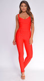 Elmirah Red Waist Cinching Bandage Jumpsuit