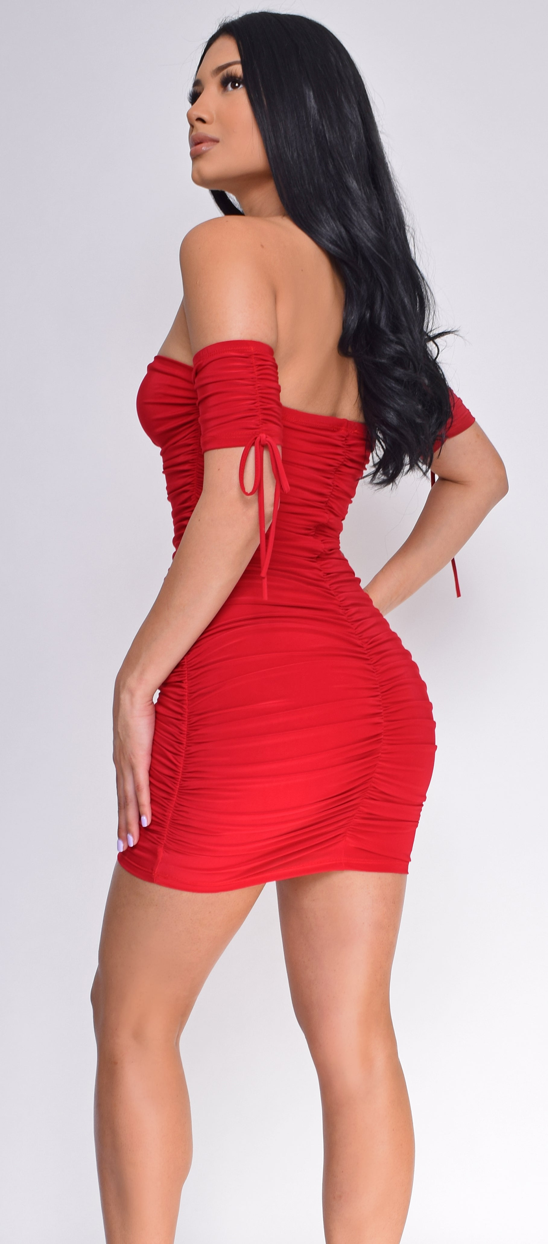 Amal Red Ruched Off Shoulder Mini Dress - Emprada