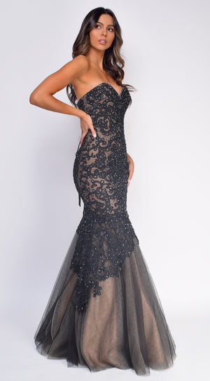 Miabella Black Nude Strapless Mermaid Gown