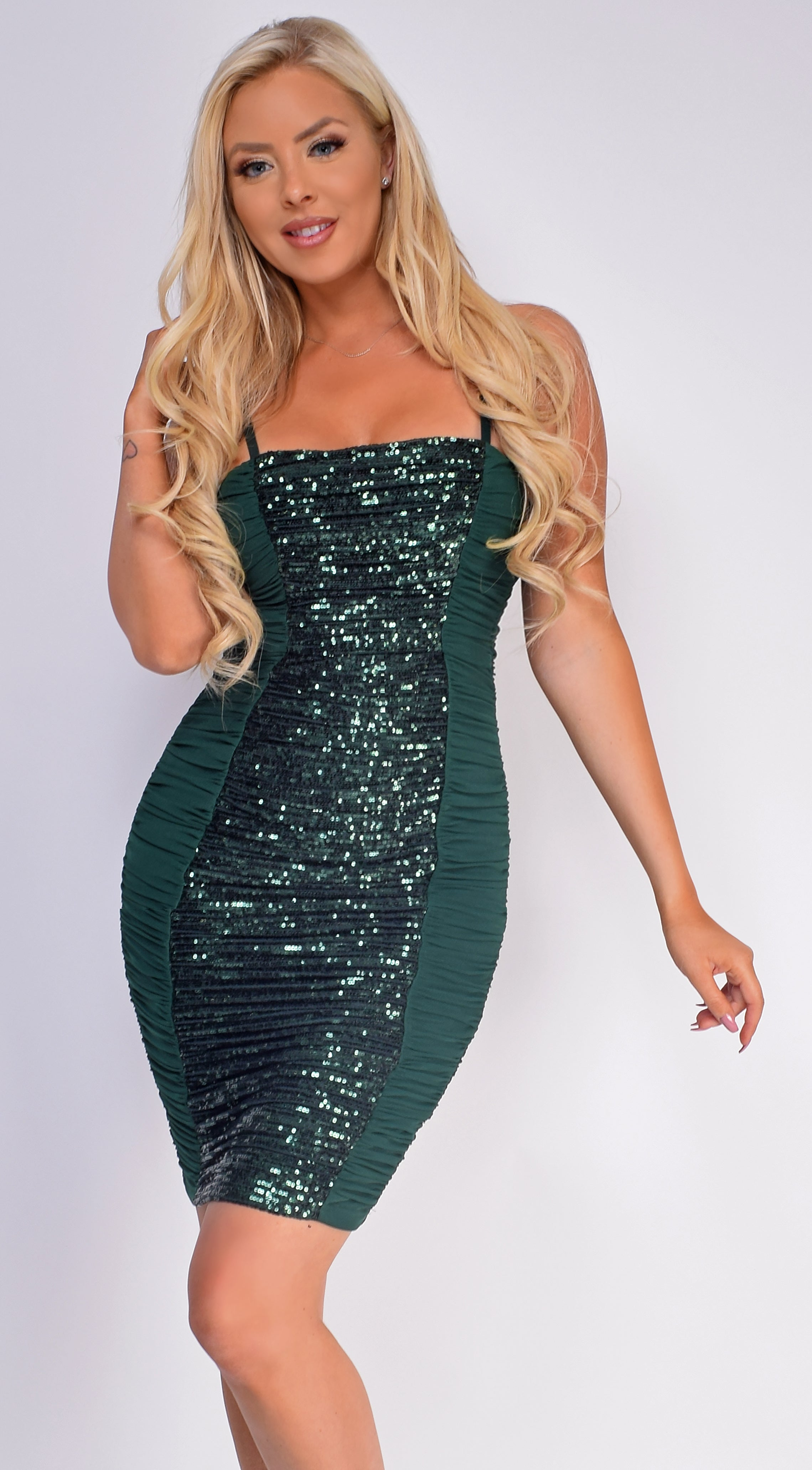 Arya Hunter Green Sequin Mesh Ruched Dress