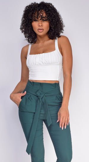 Zarah White Crinkle Detail Crop Top