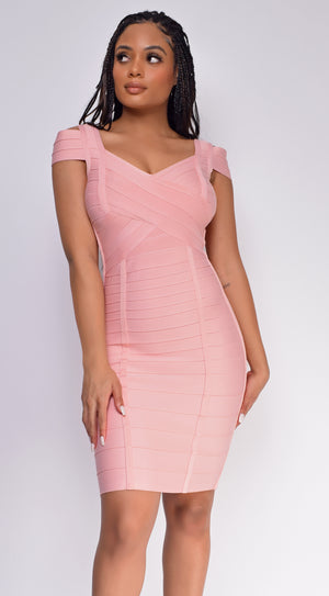 Jalia Pink Off Shoulder Bandage Dress