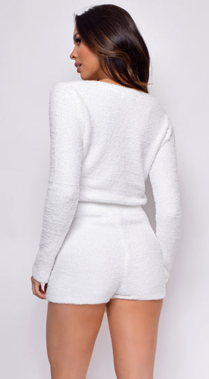 Yazmin White Fuzzy V Neck Sweater And Shorts Set