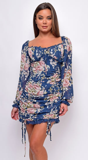Soluna Blue Floral Chiffon Ruched Mini Dress