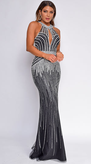 Vera Black Beaded Sheath Gown