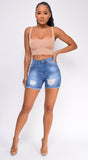 Shea Blue Distressed High Waist Denim Shorts