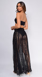 Mykonos Black Premium Lace Sarong Cover Up Skirt Dress