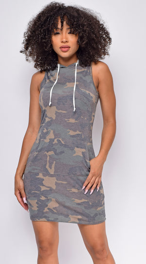 Reva Camo Green Sleeveless Hoodie Dress