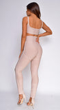 Mia Beige Bandage High Waist Pants & Crop Top Set