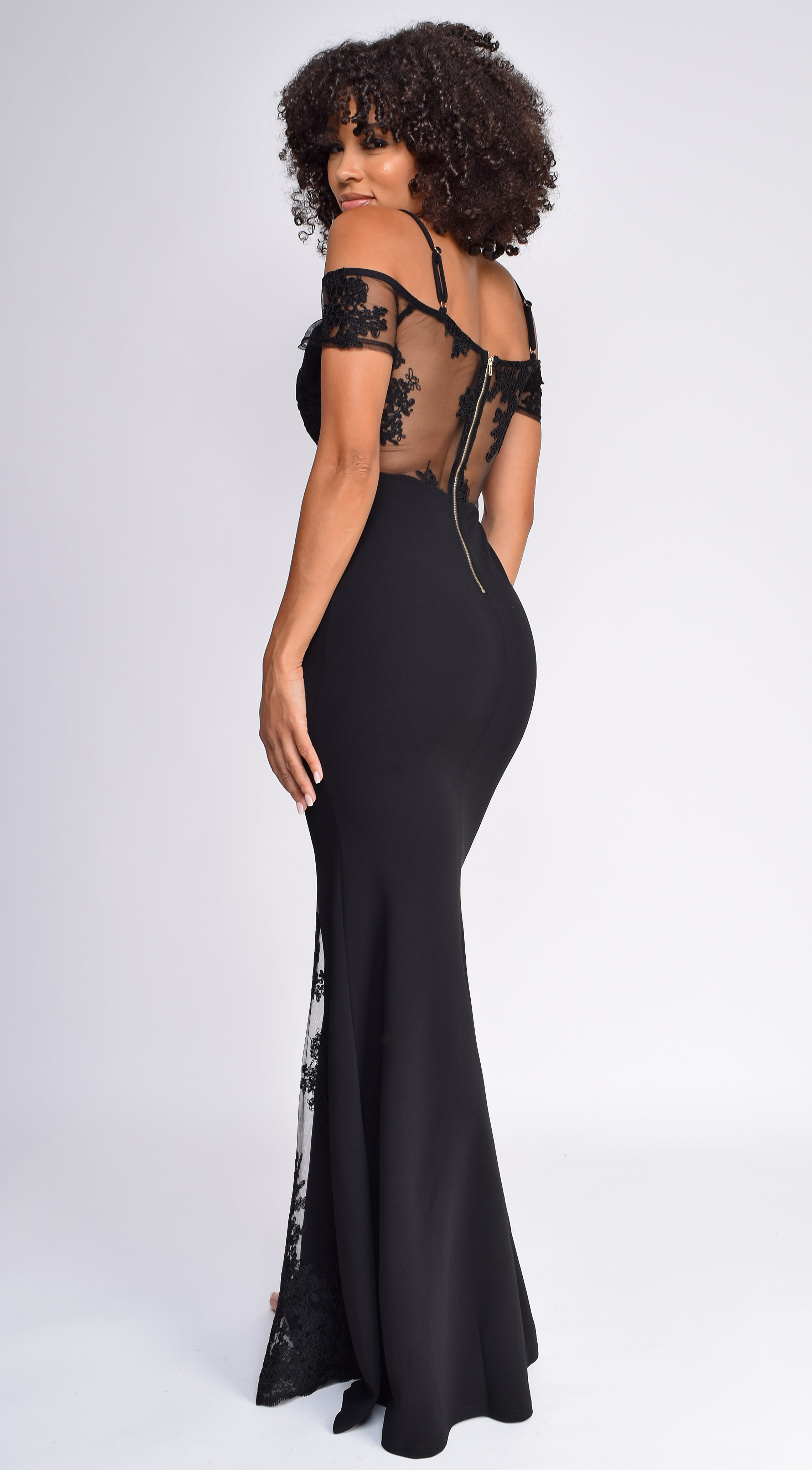 Jamie Black Embroidered Mesh Detail Gown