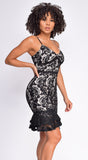 Isidora Black Nude Lace Ruffle Dress