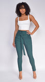 Kaari Hunter Green High Waist Tie Pants