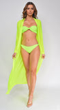 Isla Neon Lime Mesh Long Sleeves Belted Cover Up