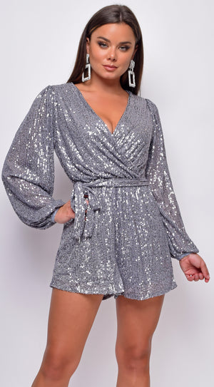 Anja Silver Sequin Wrap Over V Neck Long Sleeve Romper