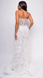 Inverness Strapless Floral Applique Tulle Overskirt Bridal Gown