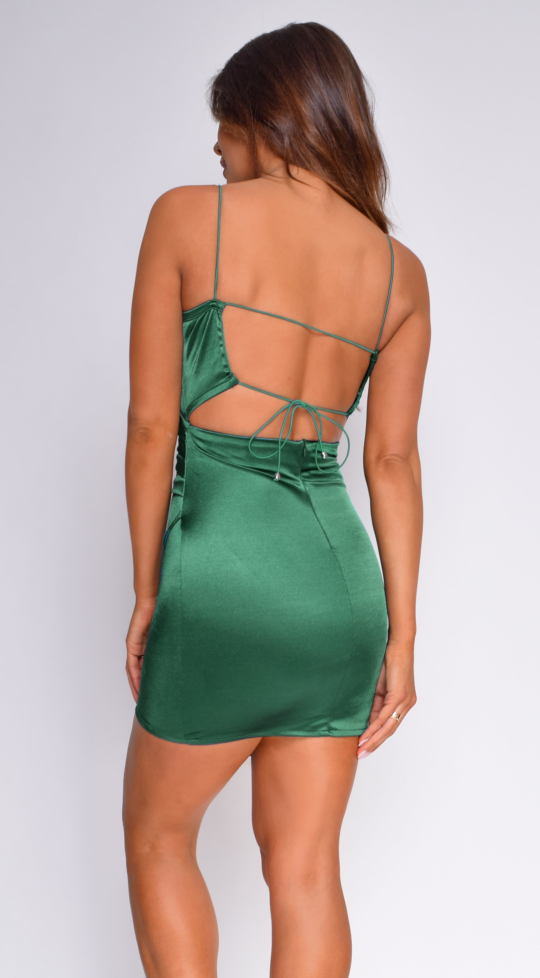 Reece Green Satin Wrap Tie Back Dress