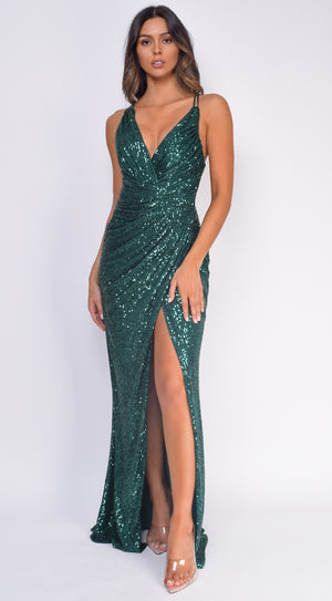 Reem Emerald Green Wrap Sequin Slit Gown