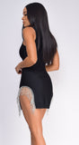 Chantel Black Sleeveless High Neck Crystal Bandage Dress