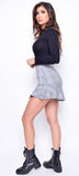 Malaika Grey Plaid Asymmetrical Skirt