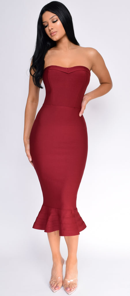 Antonia Burgundy Red Strapless Fluted-Hem Bandage Dress - Emprada