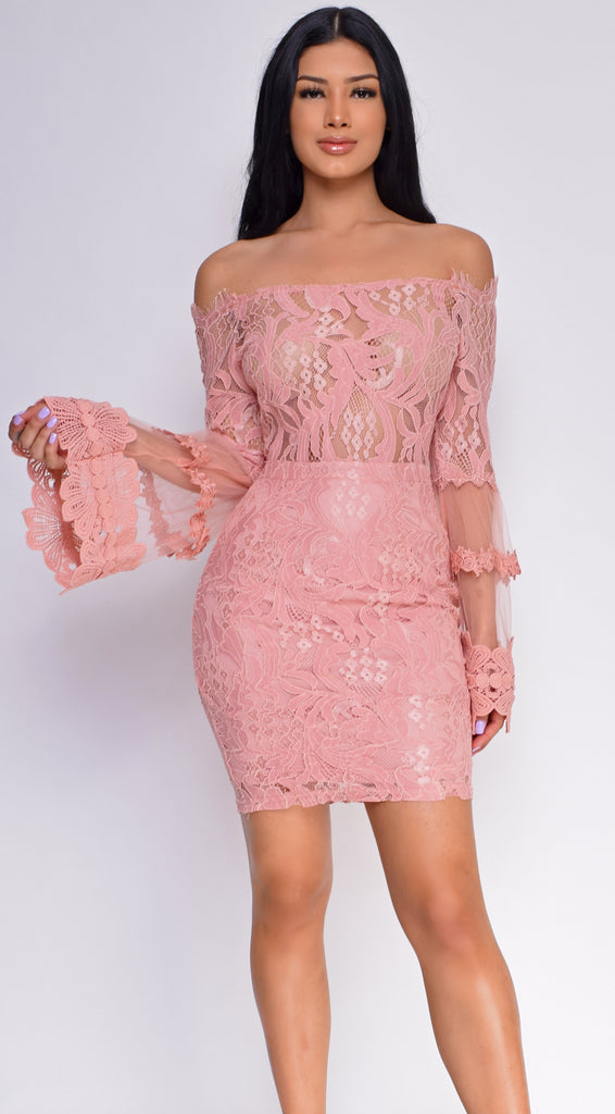 0b6f2d537b7 Persuasion Blush Pink Off Shoulder Lace Bell Sleeve Dress
