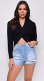 Ophelia Black Knitted Long Sleeve Front Wrapped Crop Sweater