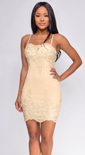Leela Cream White Scalloped Embroidered Mesh Dress