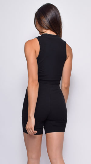 Elevate Black Notch Detail Biker Top & Short Set