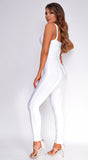 Elmirah White Waist Cinching Bandage Jumpsuit