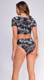 Minorca Camo Tie-Up Crop Top Bikini