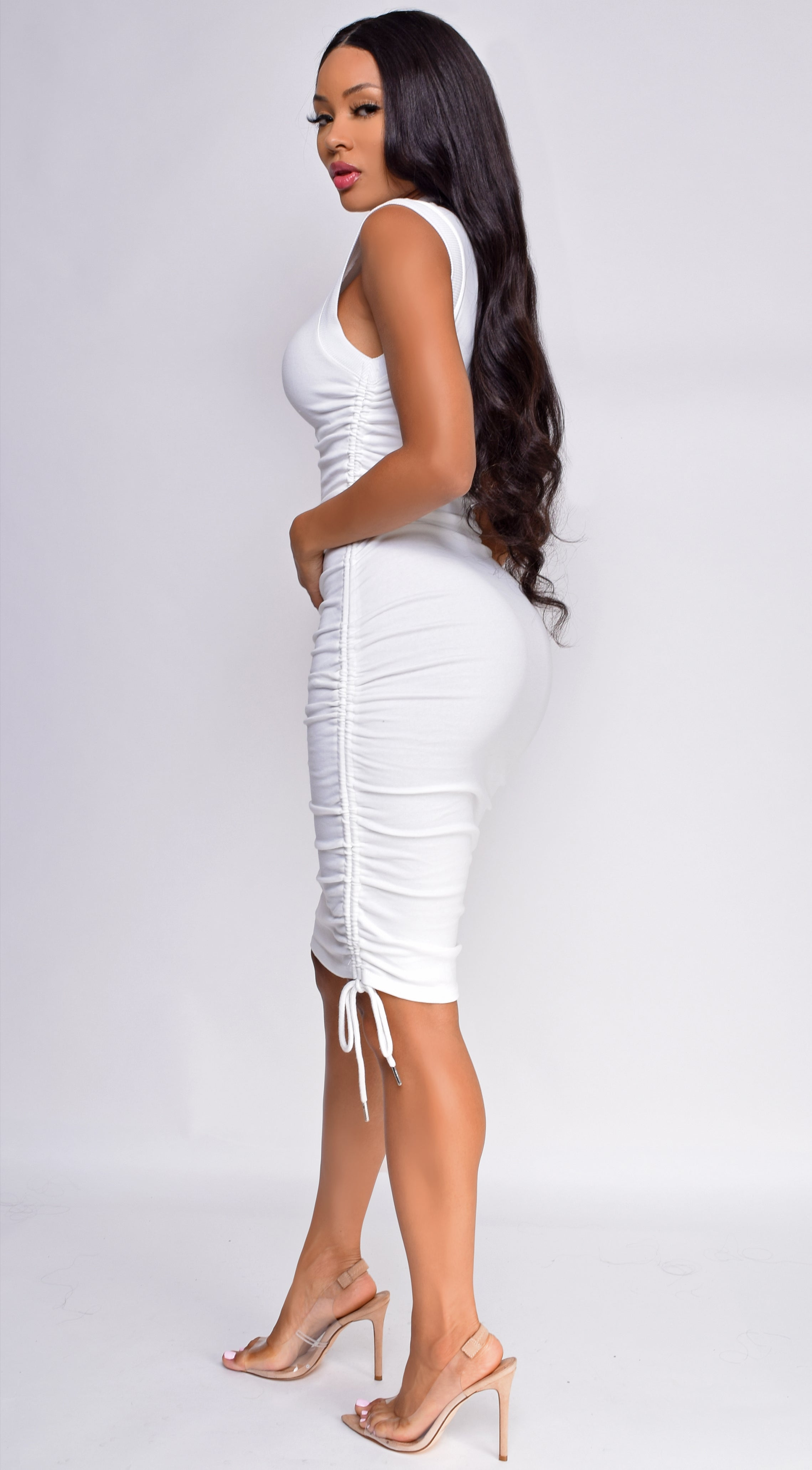 Harleen Off White High Neck Ruched Dress