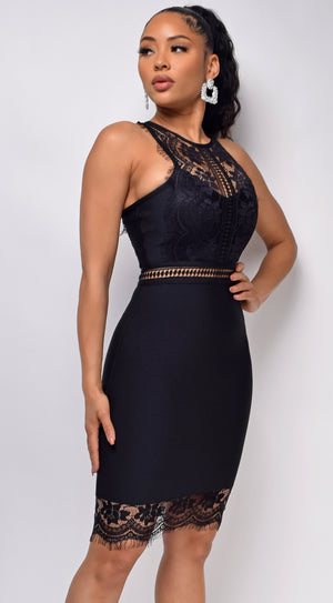Bree Black Bandage Lace Detail Dress