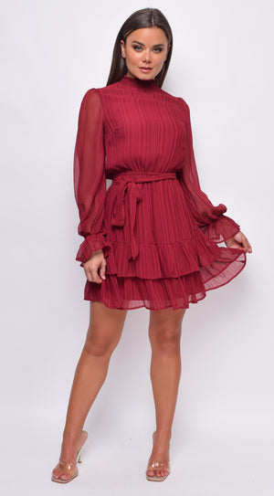 Javana Burgundy Red Smocked High Neck Ruffle Dress