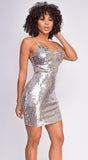 Farai Silver Gold Sequin Dress
