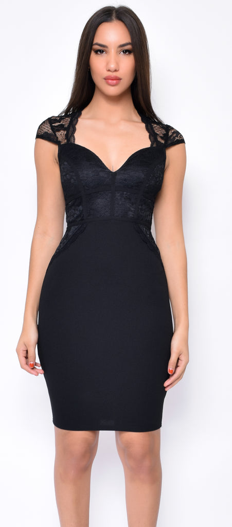 Jovie Black Lace Cap Sleeve Dress