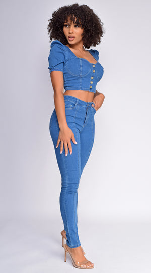 Misha Denim Bustier Top And Pants Set