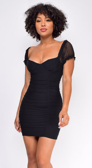 Ferentina Black Ruched Puff Sleeve Dress
