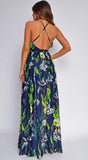 Chaya Navy Blue Tropical Print Maxi Dress
