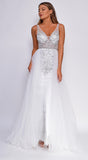 Kara Off White Silver Beaded Flyaway Skirt Gown