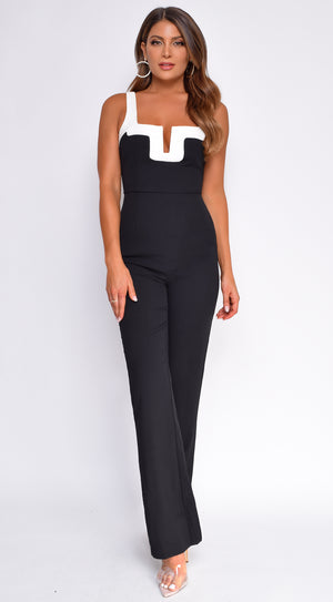 Alma Black White Trim Neckline Jumpsuit