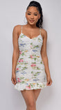 Cruz White Floral Print Ruched Dress