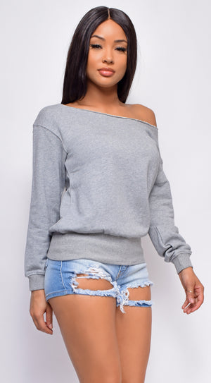 Hallie Grey Off Shoulder Sweater