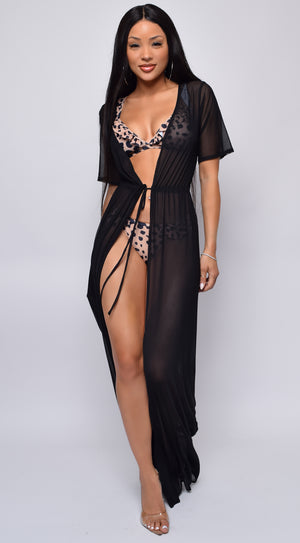 Milos Black Mesh Drawstring Open Front Cover-up Dress