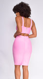 Milly Pink Bandage Top And Skirt Set