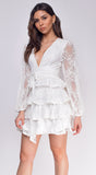 Liza White Lace Long Sleeved Tiered Ruffled Dress