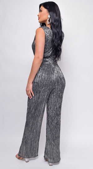 Impress Silver Shimmer Deep V Flared wide Leg Jumpsuit