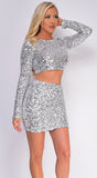 Lolita Silver Sequin Top And Skirt Set