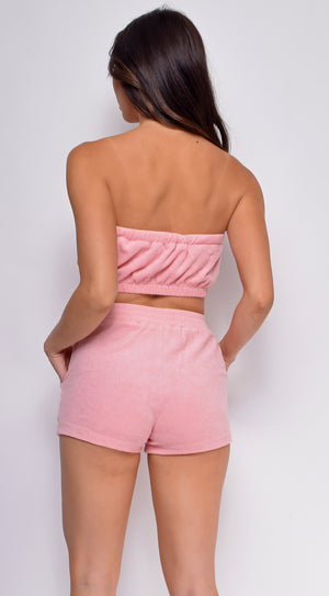 Arwa Pink Terry Two Piece Tube Set