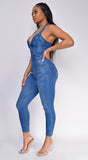 Ayvah Blue Halter Denim Jumpsuit