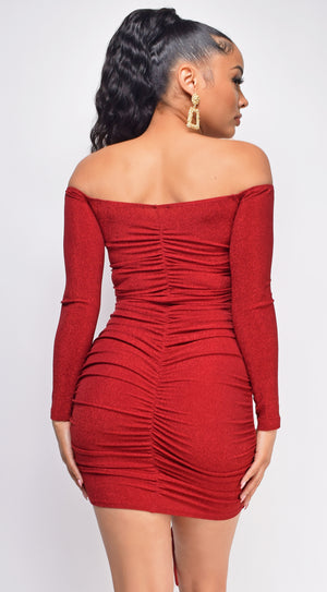 Alfie Red Ruched  Off Shoulder Lurex Dress